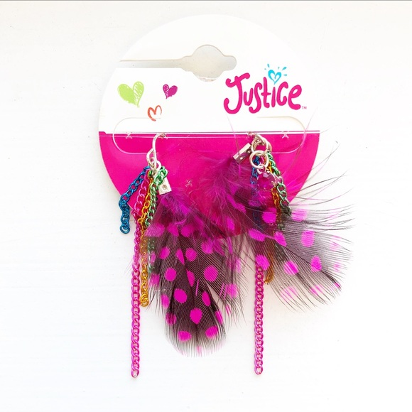 Justice Other - Colorful & pink polka dot feather drop earrings